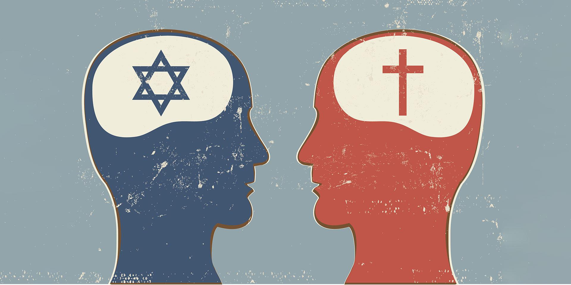 Ein jüdischer und ein christlicher Mensch (stilisiert) im Dialog