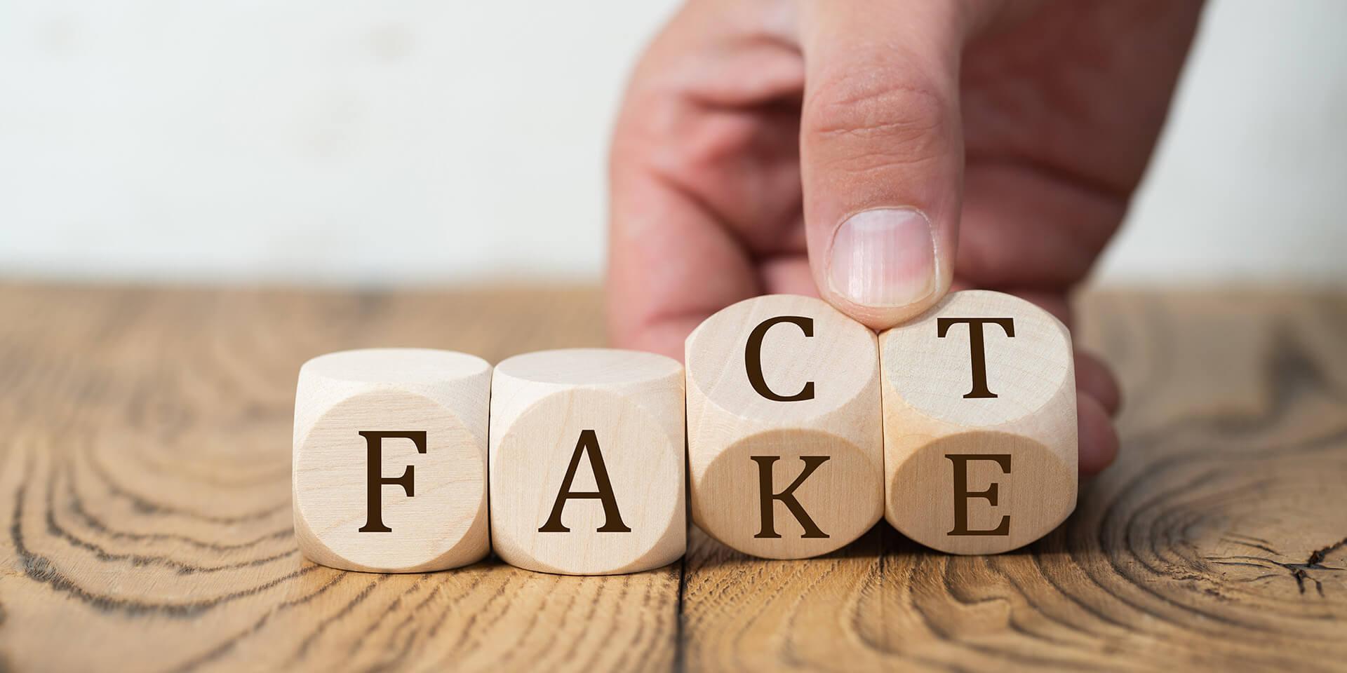 Würfel mit den Buchstaben des Wortes 'fake' werden umgedreht zu dem Wort 'fact'