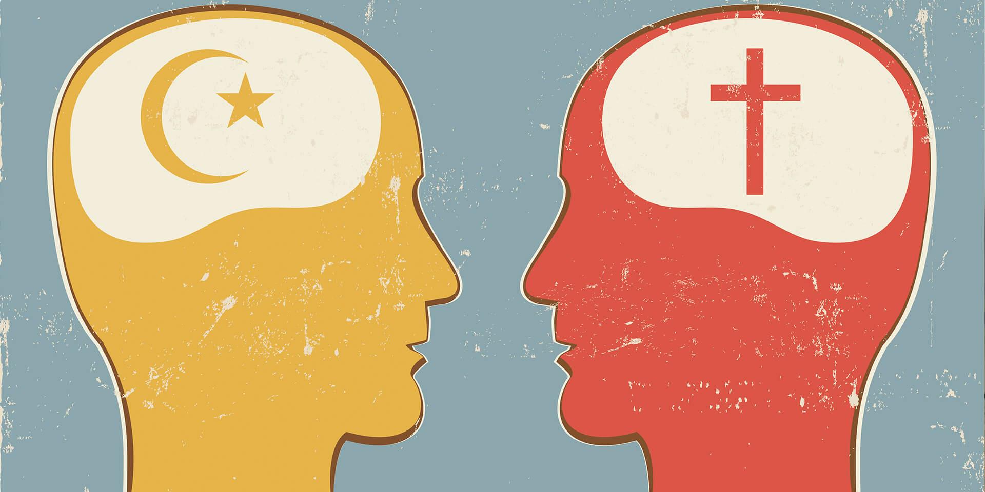 Ein muslimischer und ein christlicher Mensch (stilisiert) im Dialog