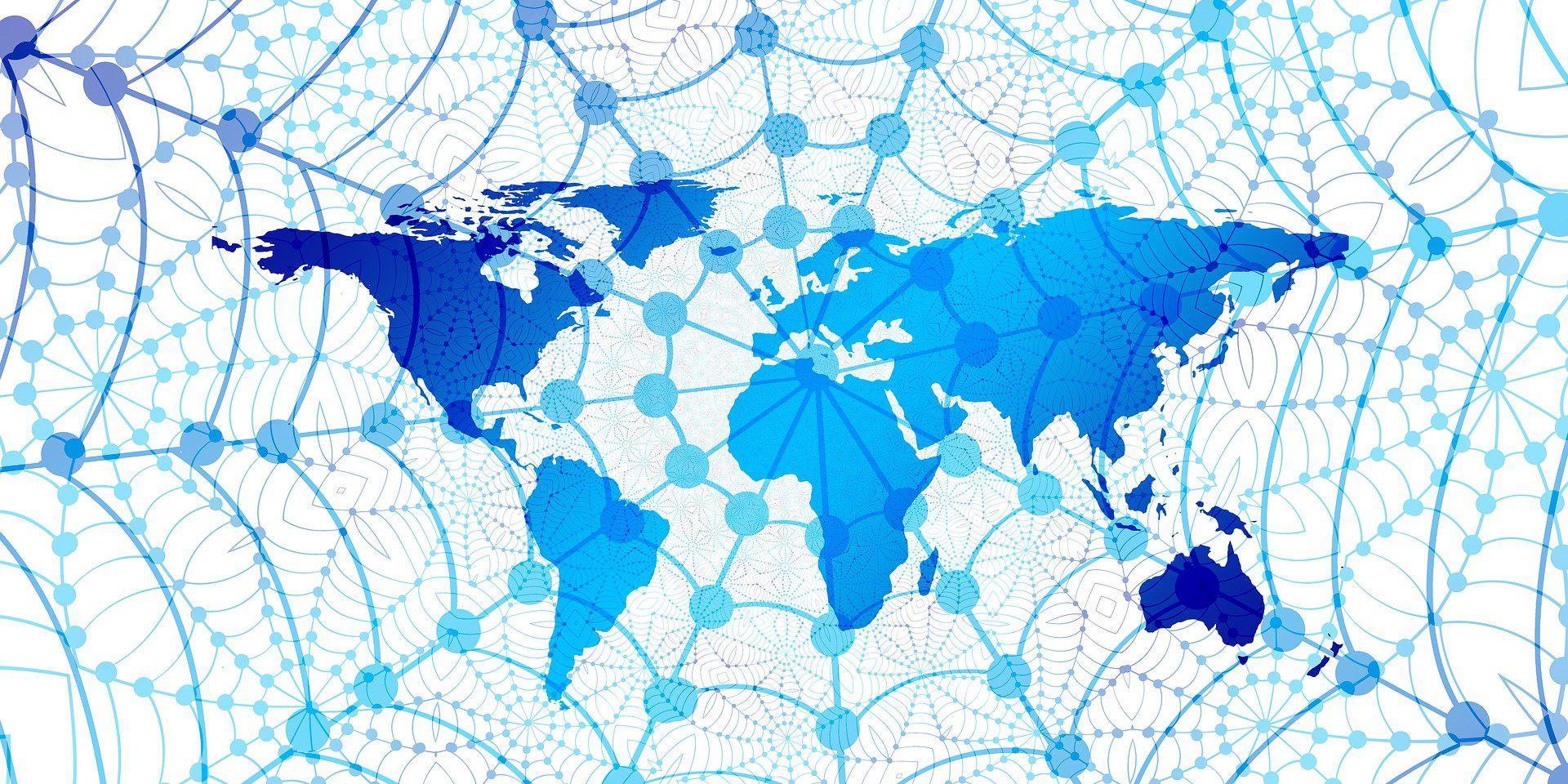 Weltkarte, von Netz überzogem